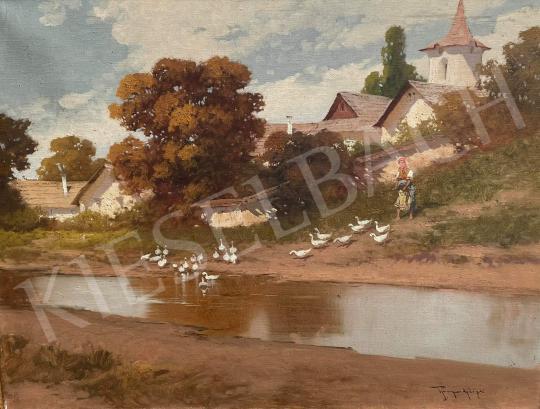 Eladó Neogrády László - Falusi leányka libákkal és tükröződő patakkal festménye