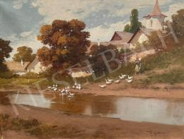 Neogrády, László - Village Girl with Geese and Mirrored Stream