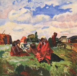 Ismeretlen festő, 20. század eleje - Cigányok a mezőn (Hommage á Iványi Grünwald Béla)