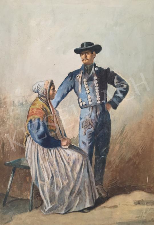 Eladó Ismeretlen festő - Házaspár népviseletben (1900 körül) festménye