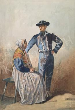 Unknown painter - Couple in Traditional Costume (Around 1900)