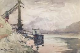 Kássa Gábor - A pesti Dunapart az Erzsébet-híddal és a Gellért heggyel