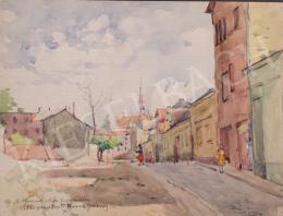 Kássa Gábor - Horváth utca a Mátyás templommal (Budapest, II. kerület), 1952