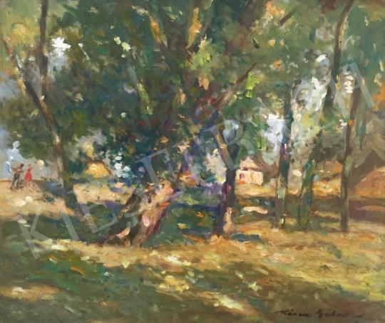 Eladó  Kássa Gábor - Impresszionista budapesti Római part (Nyári fények) festménye