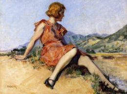 Thorma János - Dombon ülő nő