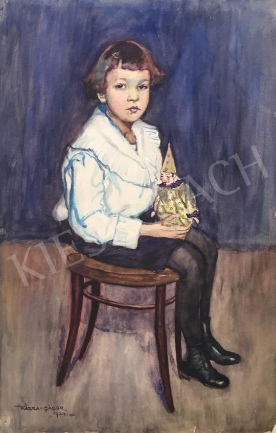 For sale  Kássa, Gábor - Little Girl with Toy Clown (Thonet Chair), 1924 's painting