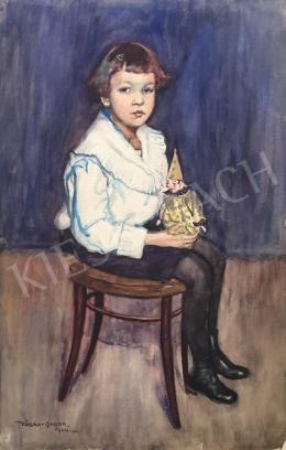 Kássa Gábor - Kislány játék bohóccal (Thonet szék), 1924