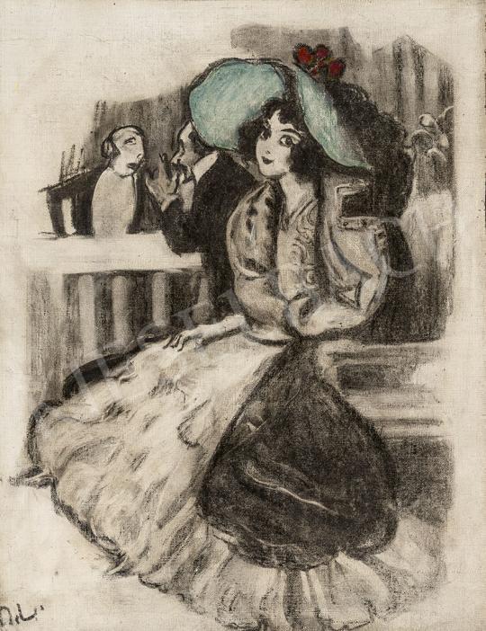 Eladó Márk Lajos - Zöld kalapos lány (Mulatóban, szeparé) festménye