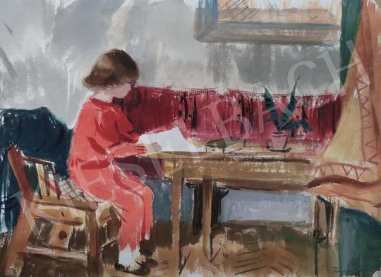 Eladó Tamás Ervin - Tanuló kislány, 1955 festménye