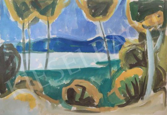 Eladó Tamás Ervin - Színes tópart (Balaton), 1959 festménye