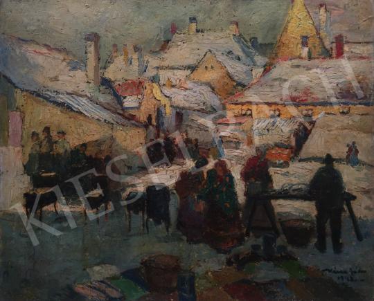 Eladó  Kássa Gábor - A gesztenyesütő az óbudai piacon, 1948 festménye