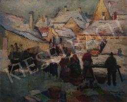 Kássa Gábor - A gesztenyesütő az óbudai piacon, 1948