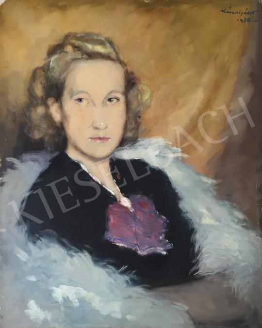 Eladó  Kássa Gábor - Fiatal hölgy szőrmegallérral, 1938 festménye
