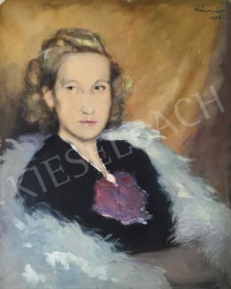 Kássa Gábor - Fiatal hölgy szőrmegallérral, 1938