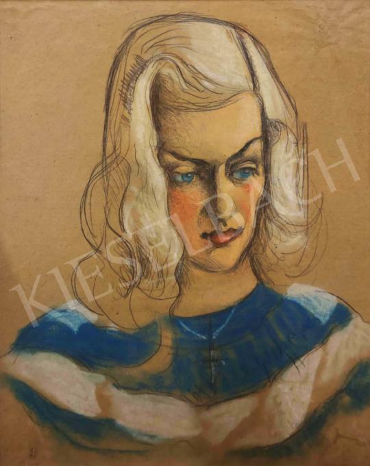 Eladó  Scheiber Hugó - Fiatal lány kék-fehér csíkos blúzban, 1930-as évek vége festménye