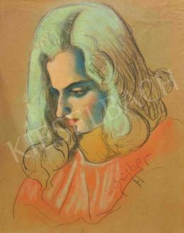 Scheiber, Hugó - Young Girl in Rose Colored Blouse, Latest 1930's