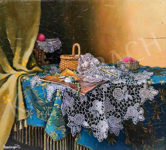 Eladó  Giszinger Imre - Csendélet rózsás csipkével festménye