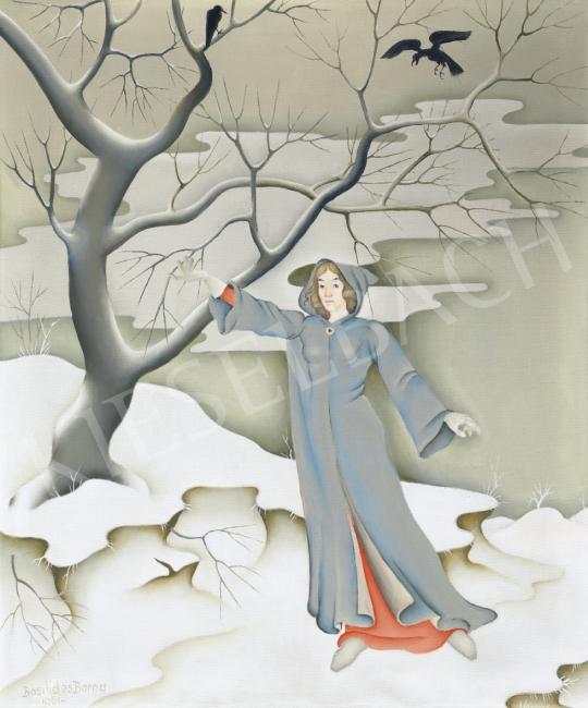 Eladó  Basilides Barna - Lány téli tájban (Tél), 1961 festménye