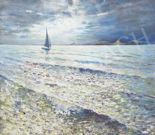 Halvax Gyula - Balaton vitorlással (Szikrázó víztükör), 1956 festménye