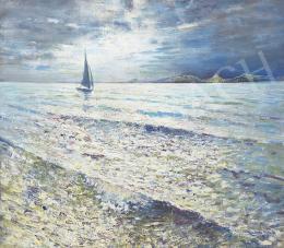 Halvax, Gyula - Lake Balaton with Sailing Boats (Sparkling Water), 1956