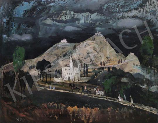Eladó  Molnár C. Pál - Itáliai táj lovasokkal  festménye