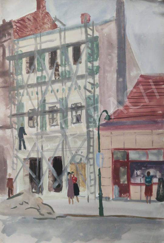 Eladó Tamás Ervin - Felállványozott ház festménye