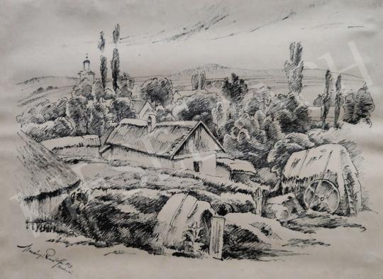 Eladó Merényi Rudolf - Falu látképe, 1923 festménye