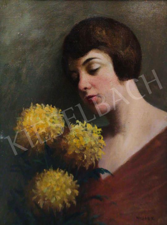 Eladó  Hollós K. jelzéssel - Fiatal hölgy virággal festménye