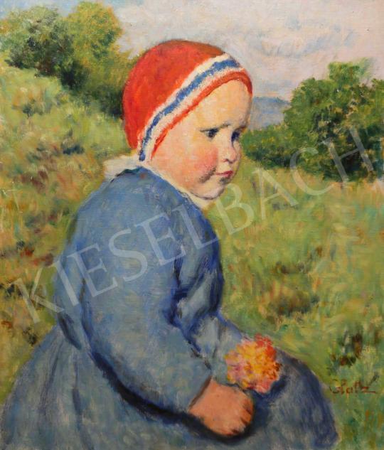Eladó  Glatz Oszkár - Kislány virággal festménye