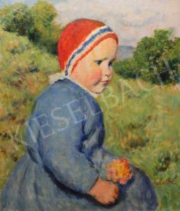 Glatz Oszkár - Kislány virággal