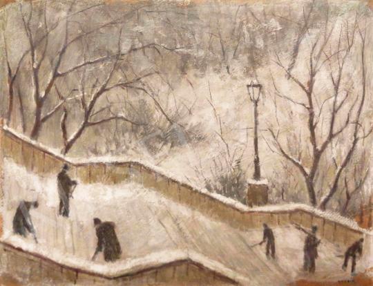 Eladó Guzsik Ödön - A Schulek lépcsőt takarító munkások festménye