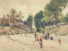Dobroszláv Lajos - Játszó fiatalság a tatai parkban