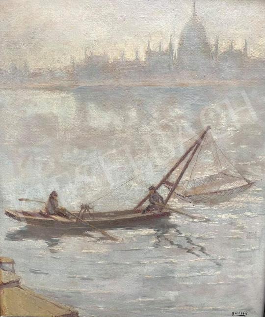 Eladó Guzsik Ödön - Parlament, halászok, Duna festménye