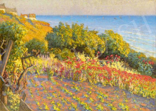 Eladó  Poll Hugó - Kilátás a tengerre, 1900 körül festménye