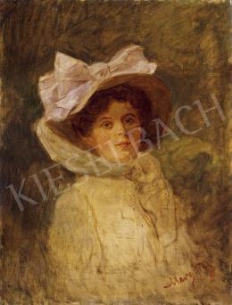 Margitay, Tihamér - Lady in a White Hat