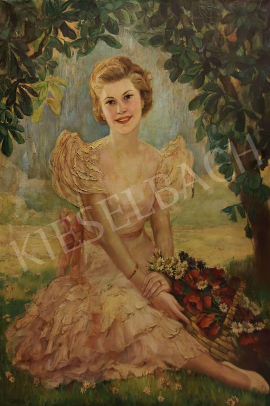 Eladó Illencz Lipót - Leány a szabadban festménye