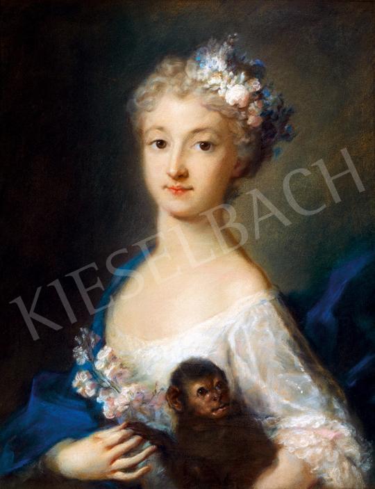 Eladó Escot, Charles - Rokokó ruhás fiatal lány festménye