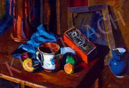 Tipary Dezső - Műtermi csendélet kék kancsóval, 1919