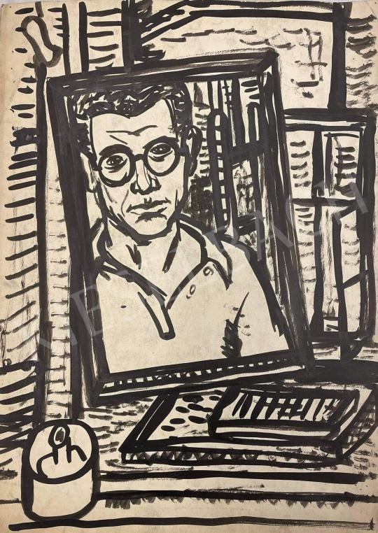Eladó  Fenyő Andor - Önarckép tükörben  festménye