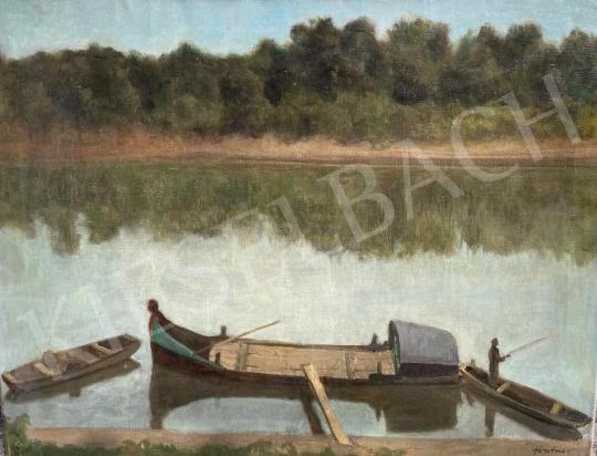 Eladó Förstner Tivadar - Halászok a Tiszán  festménye