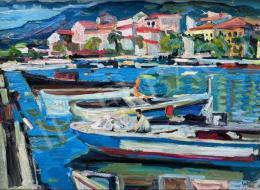 Schéner Mihály - Mediterrán kikötő csónakokkal