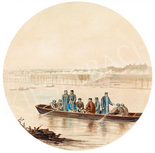 Eladó Ismeretlen magyar festő, 19. század - Szegedi árvíz, 1879 (Ferenc József látogatása) festménye