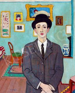 Vörös Géza - Kalapos önarckép, 1930 körül