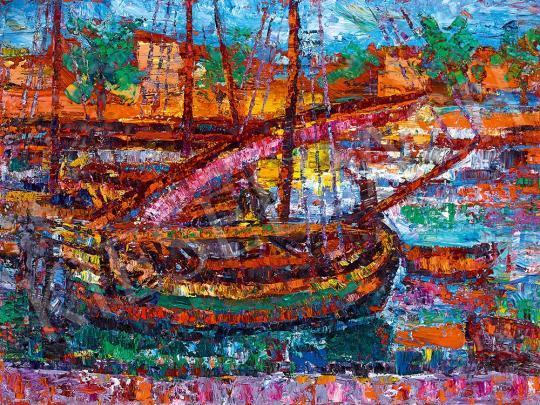 Eladó  Vén Emil - Vitorlások a horvát tengerparton (Spolento) festménye