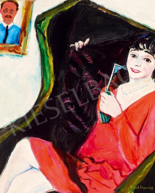 Eladó  Frank Frigyes - Fotelban ülő vörös ruhás Mimi (Mimi olajfúvóval), 1929 festménye