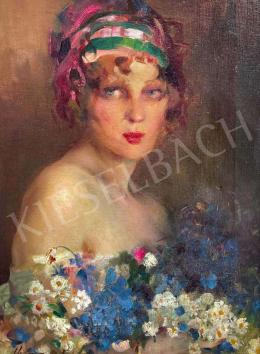 Vígh, Bertalan - Young Girl with Daisies