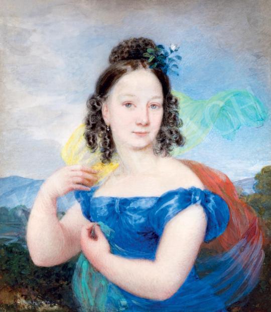 Eladó  Schrotzberg, Franz - Fiatal lány kék ruhában (Szellő), 1832 festménye