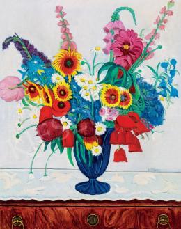 Vörös, Géza - Still Life with Flowers in Blue Art Deco Vase, 1930's
