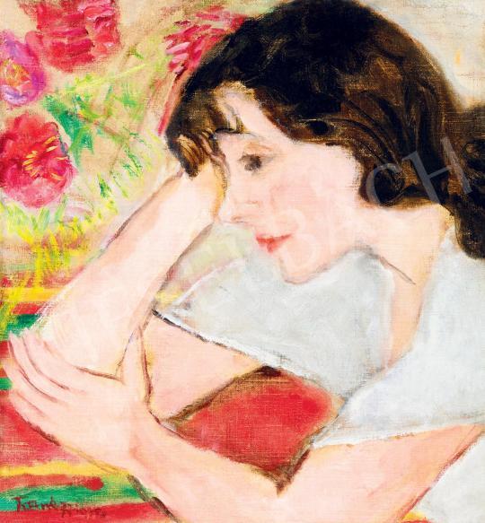 Eladó  Frank Frigyes - Mimi virágcsokorral, 1930-as évek festménye