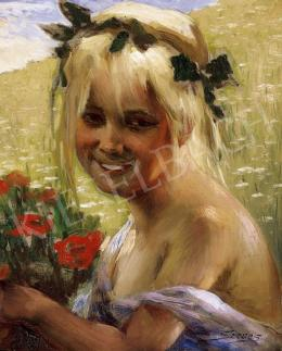 Szenes, Fülöp - Lottle Girl with Poppies